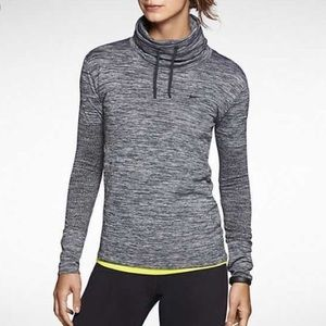 Nike | Heathered Black Dri-Fit Funnel Neck Top XS